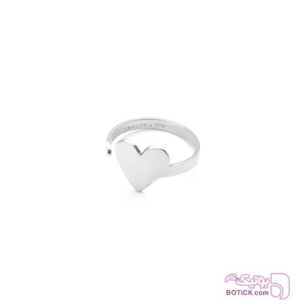 انگشتر قلب استیل | R12  نقره ای انگشتر
