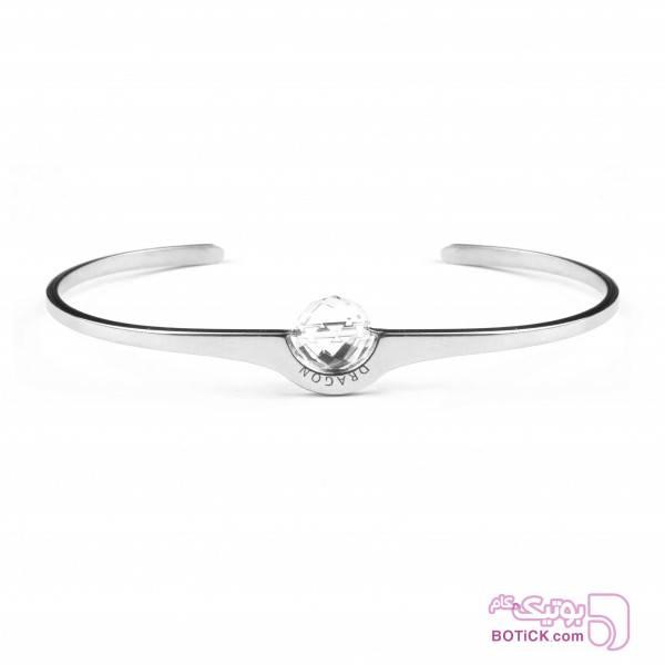 دستبند النگویی استیل (کاف) | کریستال | C1C  نقره ای دستبند و پابند