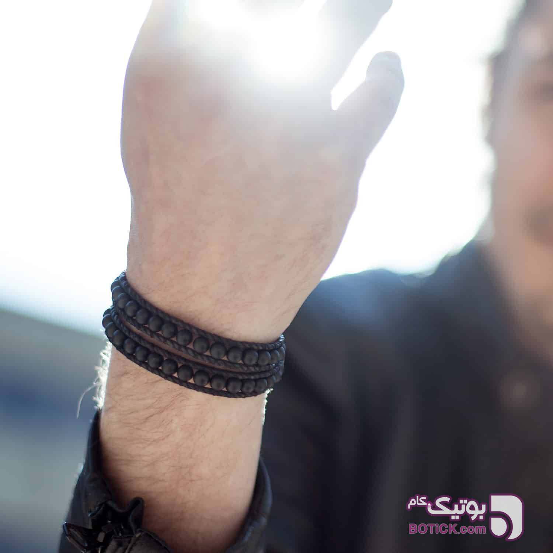 دستبند دورپیچ سنگ اونیکس   HC15  مشکی دستبند و پابند