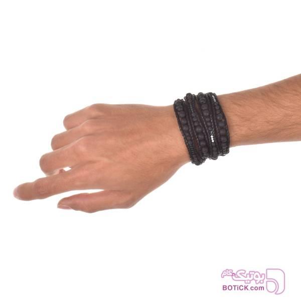 دستبند دورپیچ سنگ لاوا | سنگ هماتیت | WA51  مشکی دستبند و پابند