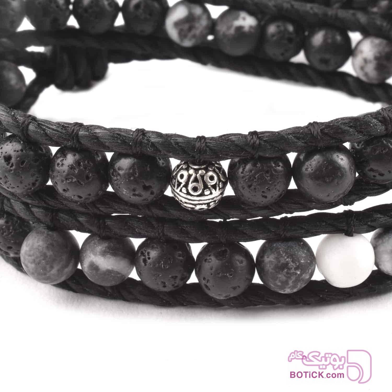 دستبند دورپیچ سنگ لاوا | سنگ هولایت | نقره | WA41  مشکی دستبند و پابند