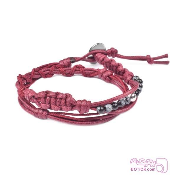 دستبند دورپیچ | کنف | سنگ ابسیدین | WS20  زرشکی دستبند و پابند