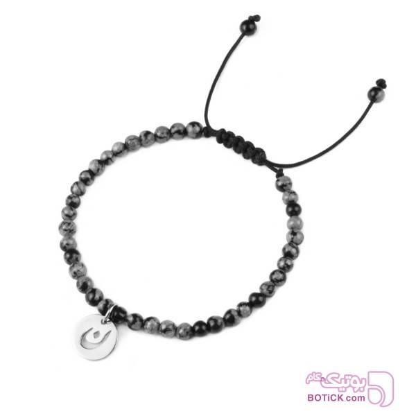 دستبند سنگ ابسیدین | آویز حروف الفبا | FB1  مشکی دستبند و پابند