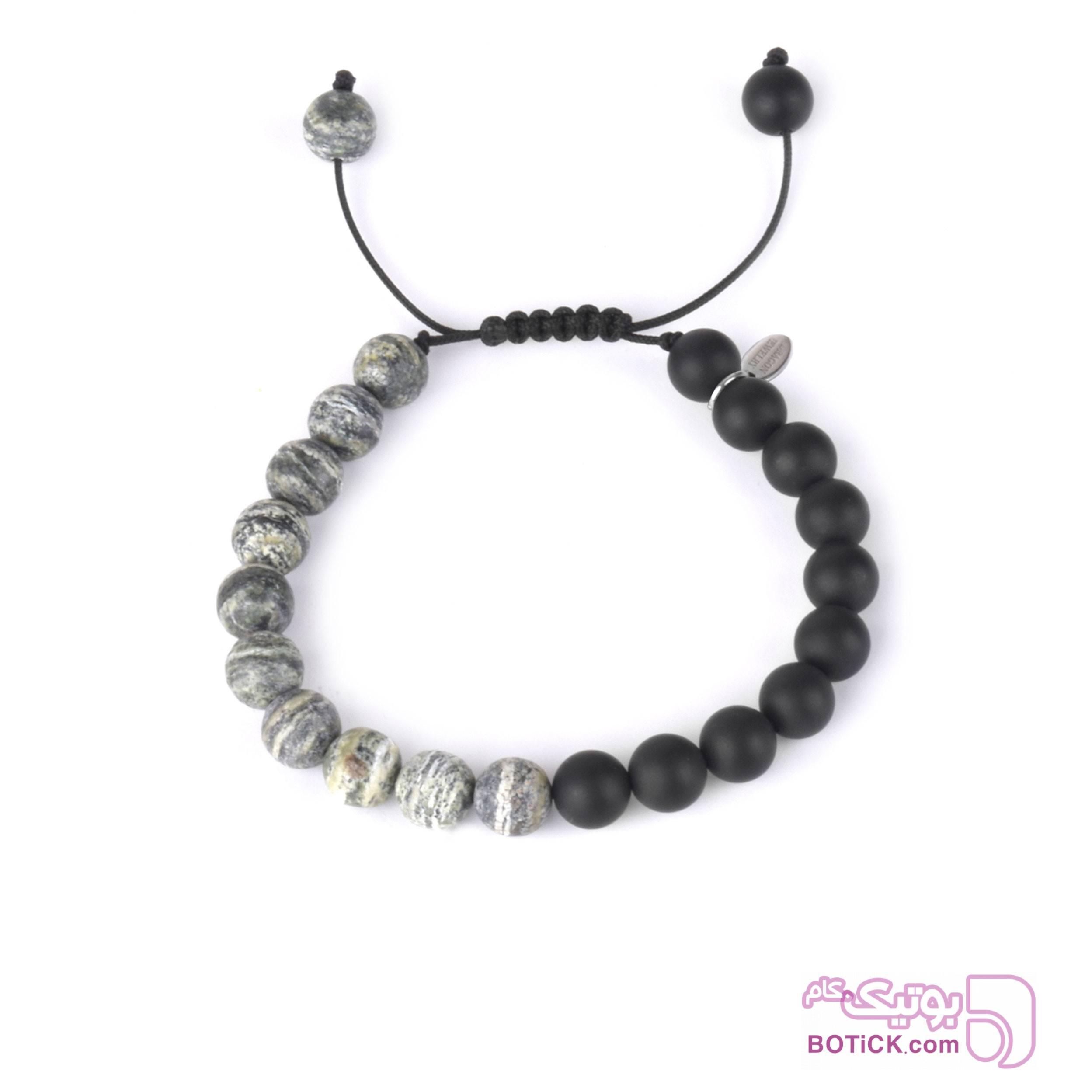 دستبند سنگ اونیکس   سنگ جاسپر   BZ4  طوسی دستبند و پابند