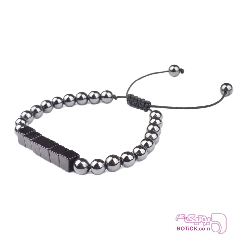 دستبند سنگ اونیکس | سنگ هماتیت | LM158  طوسی دستبند و پابند