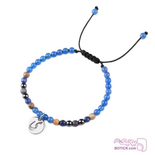 دستبند سنگ عقیق | سنگ هماتیت | آویز حروف الفبا | FB2  آبی دستبند و پابند