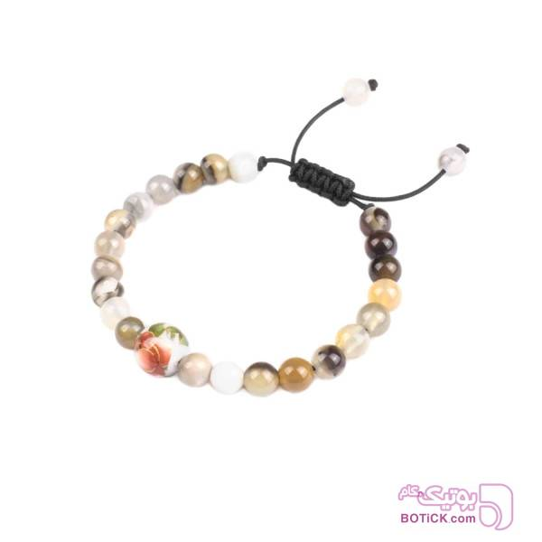 دستبند سنگ عقیق | گوی مینا کاری | DN125  سفید دستبند و پابند