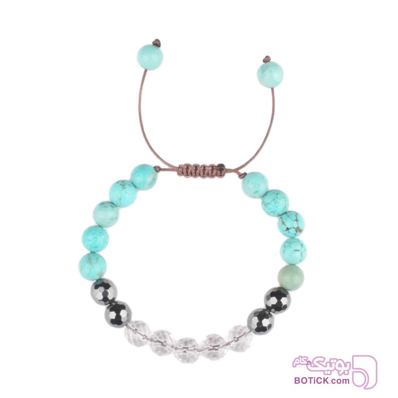 دستبند سنگ فیروزه | سنگ هماتیت | کریستال | LM199  سفید دستبند و پابند