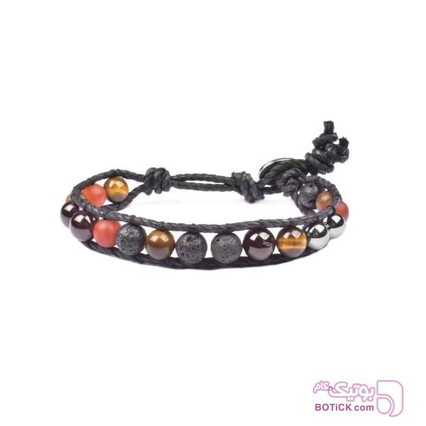 دستبند سنگ لاوا | سنگ چشم ببر | سنگ گارنت | WS17  قهوه ای دستبند و پابند