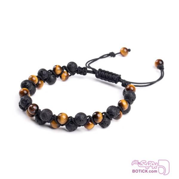 دستبند سنگ لاوا | سنگ چشم ببر | BZ12  قهوه ای دستبند و پابند