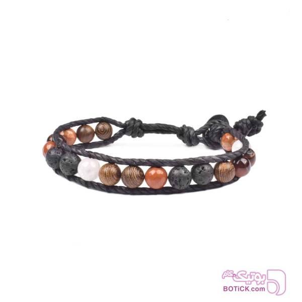 دستبند سنگ لاوا | چوب ونگه | WS18  مشکی دستبند و پابند