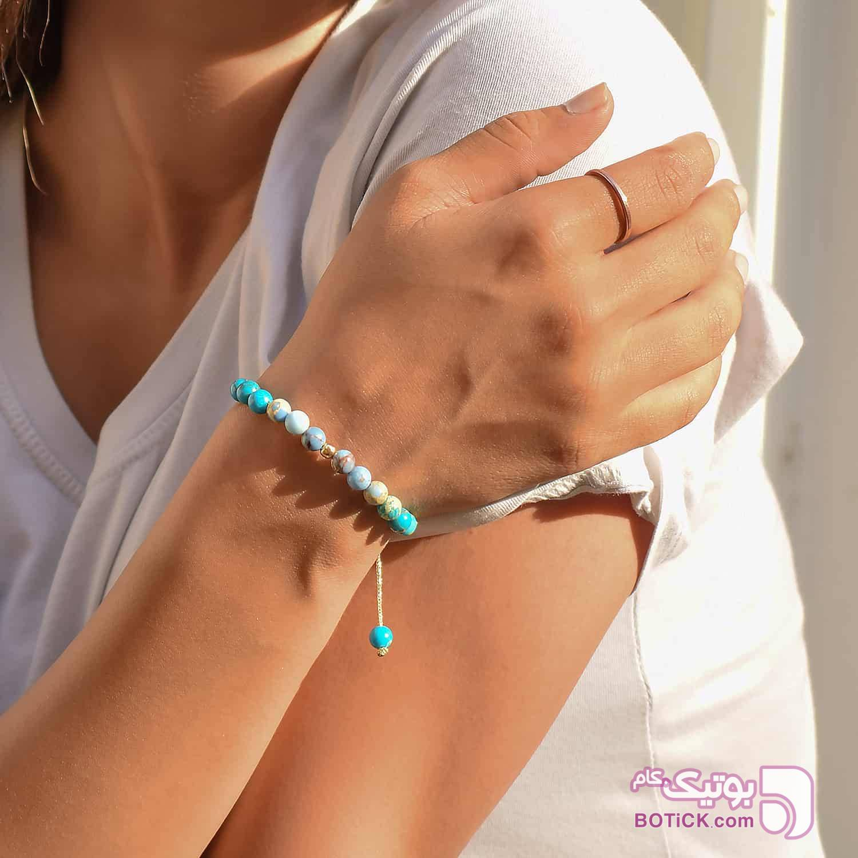 دستبند طلا بافت مکرمه   سنگ فیروزه   سنگ جاسپر   GB24  فیروزه ای دستبند و پابند
