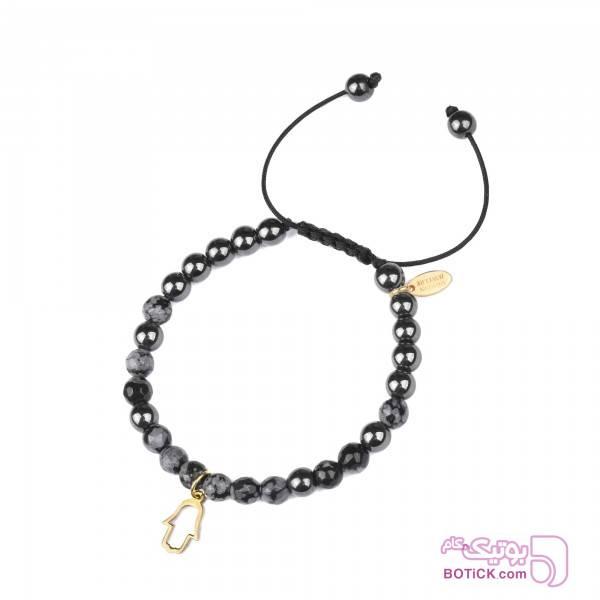 دستبند طلا | سنگ ابسیدین | BG5  مشکی دستبند و پابند