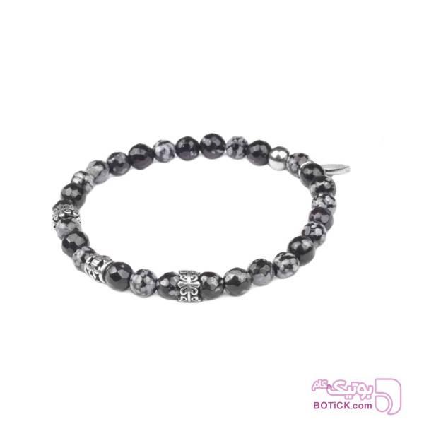 دستبند نقره | سنگ ابسیدین | MD5  نقره ای دستبند و پابند