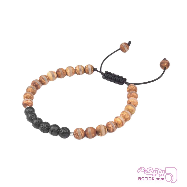 دستبند نقره | سنگ جاسپر | سنگ لاوا | LM63  قهوه ای دستبند و پابند