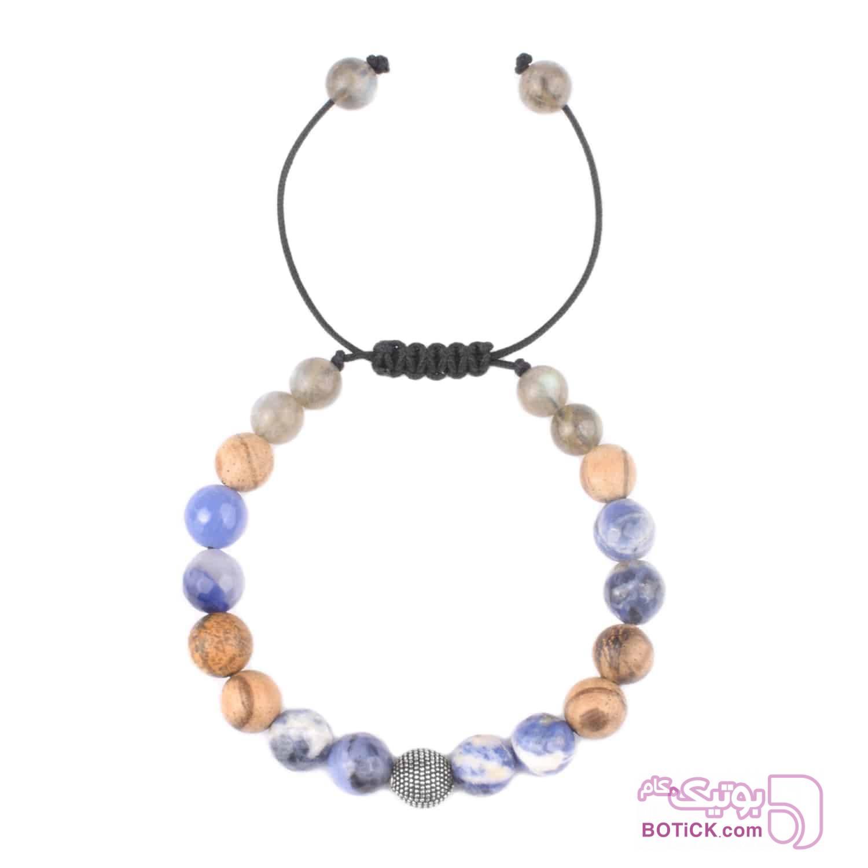 دستبند نقره | سنگ سودالیت | سنگ لابرادوریت | LM57  سورمه ای دستبند و پابند