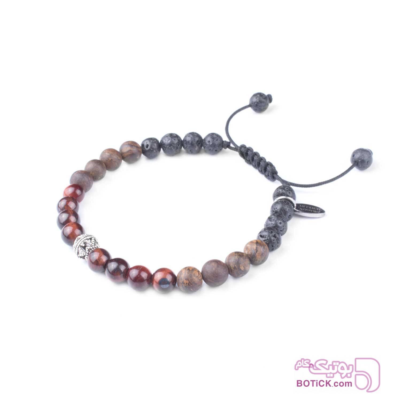دستبند نقره | سنگ چشم ببر | سنگ برنزیت | MA6  طوسی دستبند و پابند