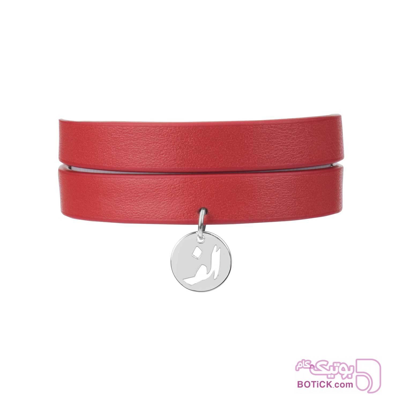 دستبند چرم قرمز | آویز استیل حروف | LT4  زرشکی دستبند و پابند
