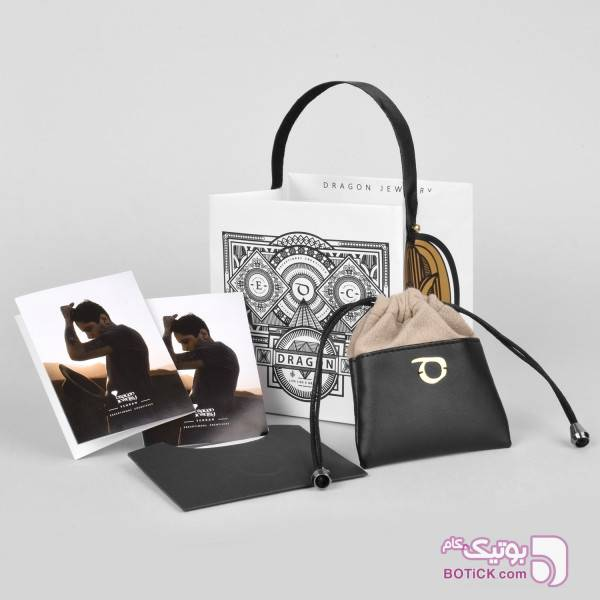 دستبند چرم مشکی | طلا | SLT2  مشکی دستبند و پابند