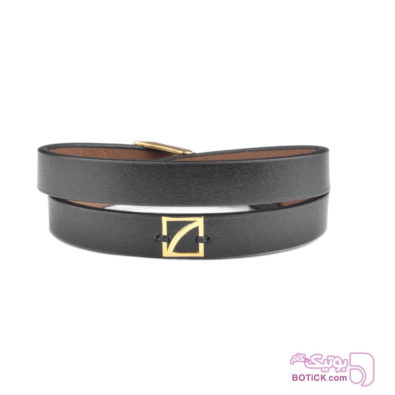 دستبند چرم مشکی | طلا | SLT8  مشکی دستبند و پابند