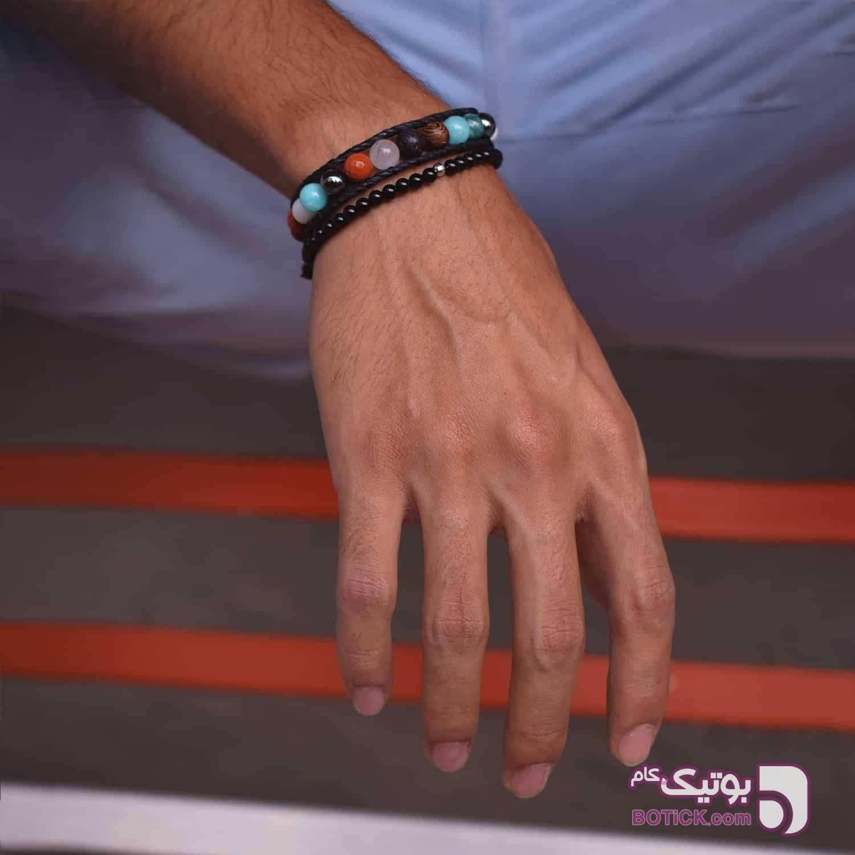 دستبند کشی سنگ اونیکس | نقره | MD2  مشکی دستبند و پابند