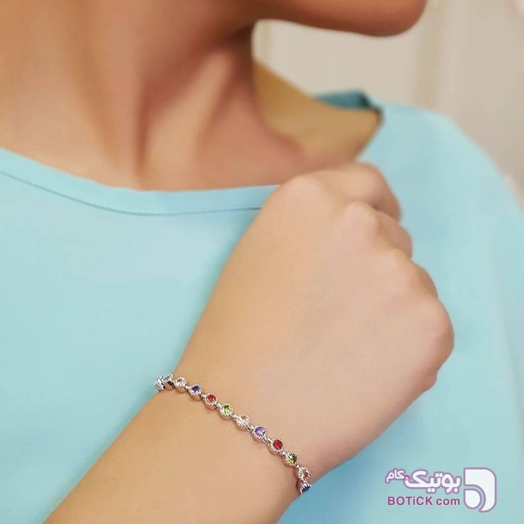 دست بند نگين دار نقره ای دستبند و پابند