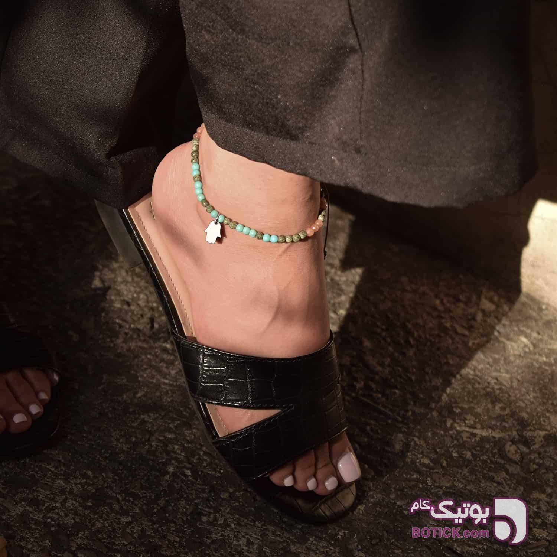 پابند دست همسا | سنگ عقیق | سنگ فیروزه | FG19  فیروزه ای دستبند و پابند