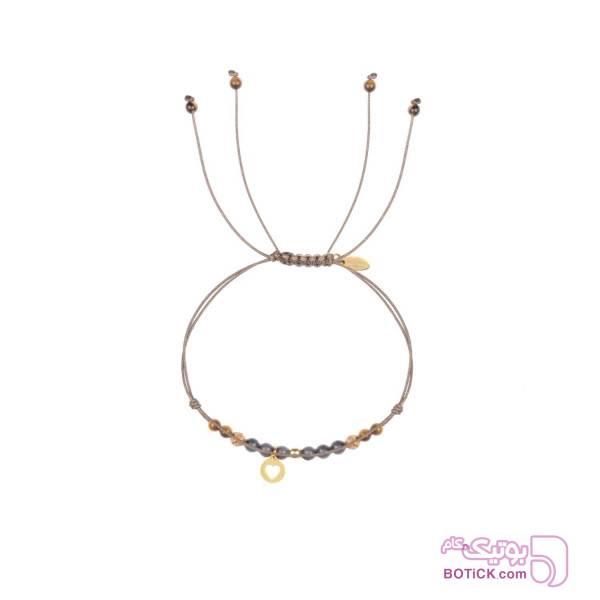 پابند قلب طلا | سنگ عقیق | سنگ چشم ببر | FG13  قهوه ای دستبند و پابند