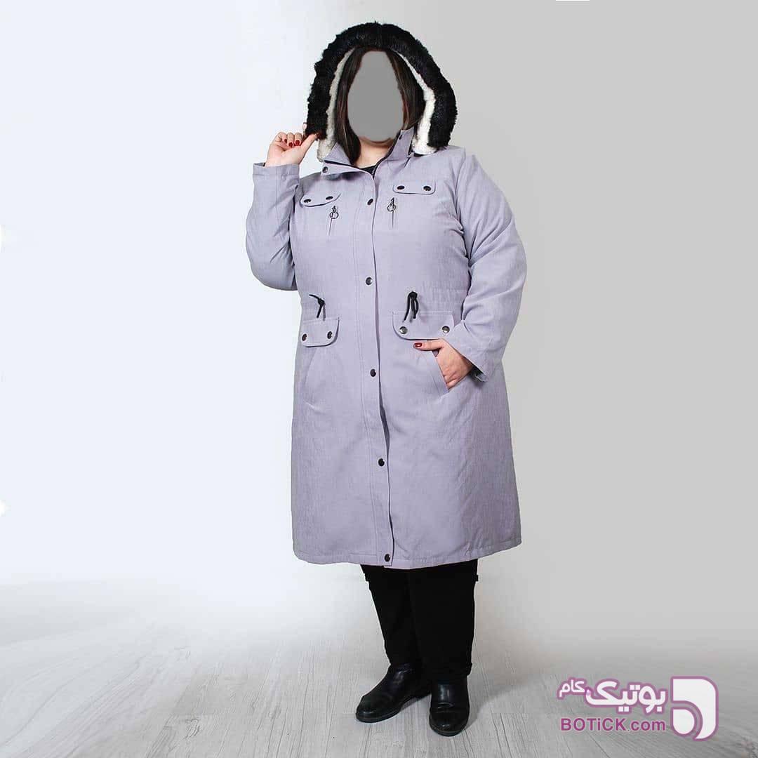 کاپشن کلاه خز آستر ببیعی فیروزه ای سایز بزرگ زنانه