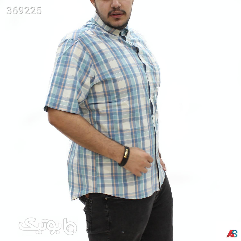 پیراهن استین کوتاه  کد محصول ext984 آبی سایز بزرگ مردانه