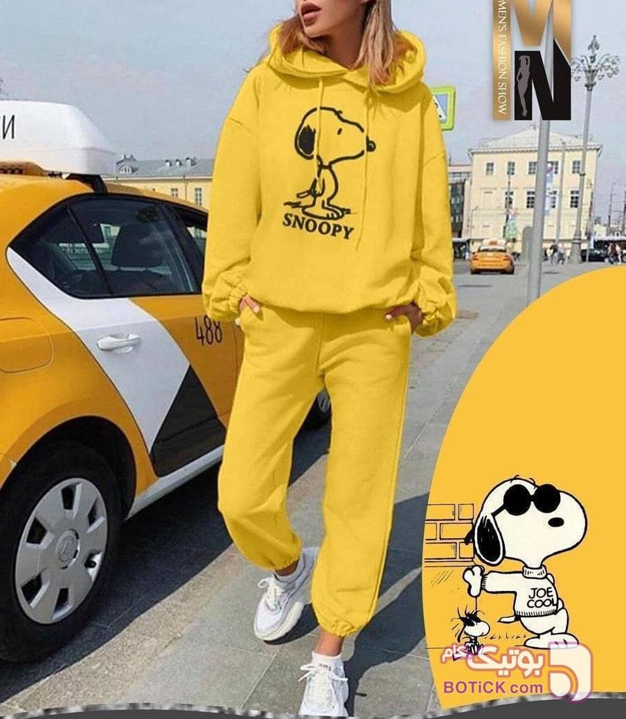 هودی و شلوار زرد سوئیشرت زنانه
