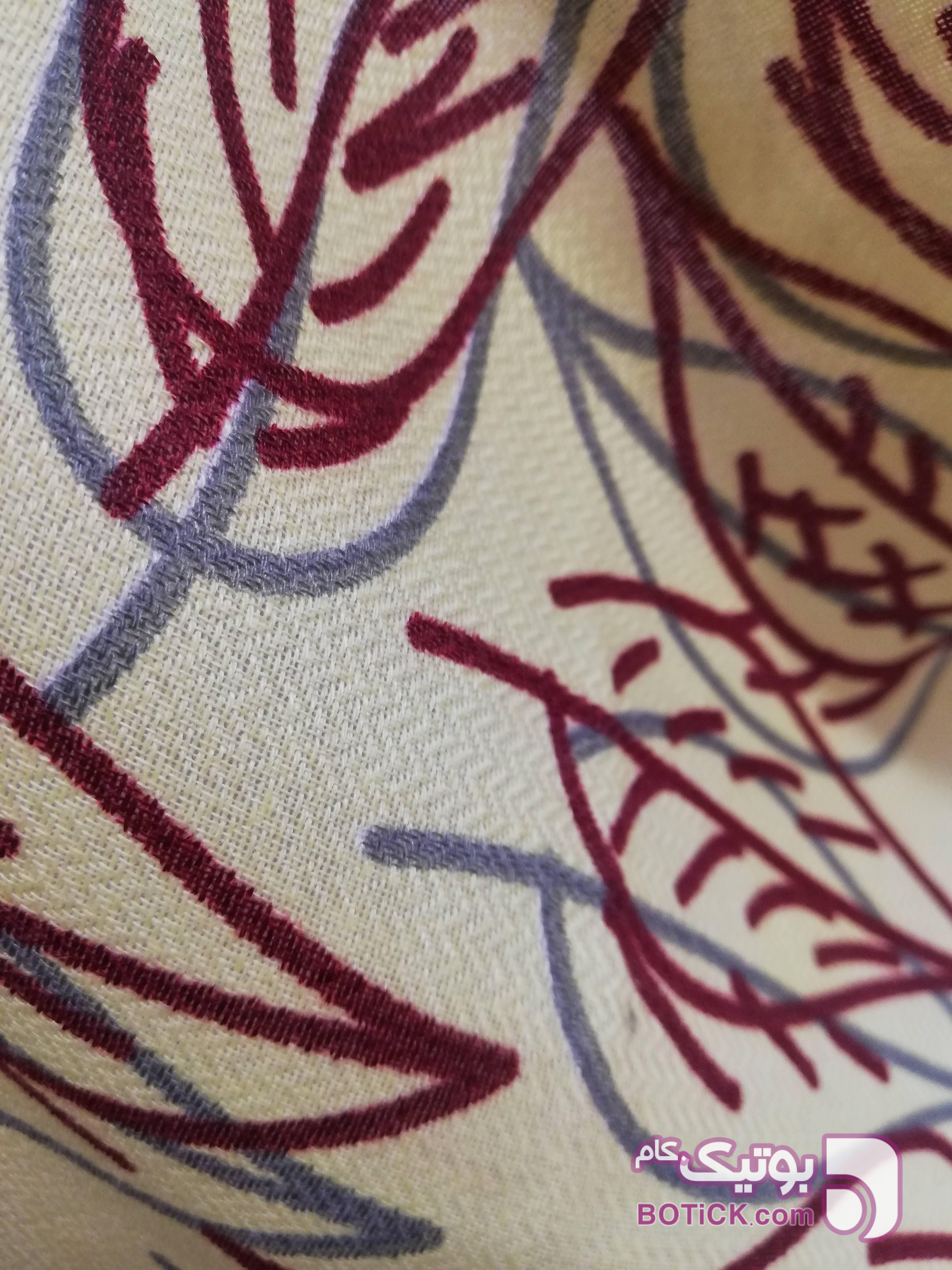 روسری نخی  پاییزه دور دست دوز زرد شال و روسری