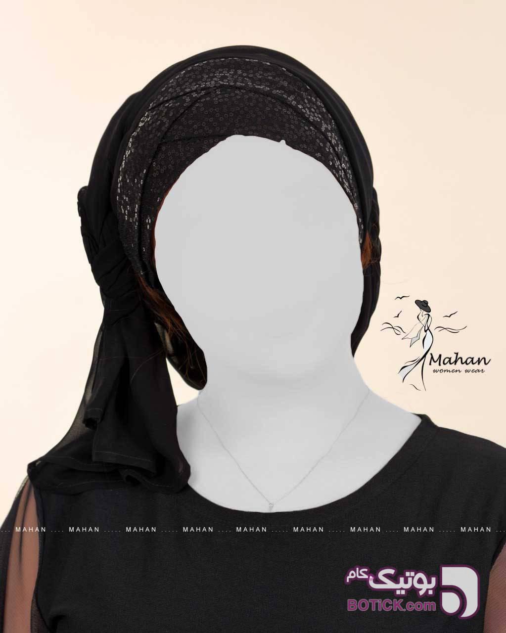 مدل شال حجاب جناغی  مشکی شال و روسری