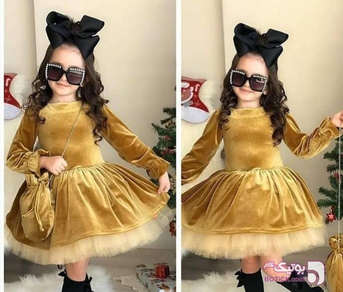 پیداهن مخملی آبی لباس کودک دخترانه