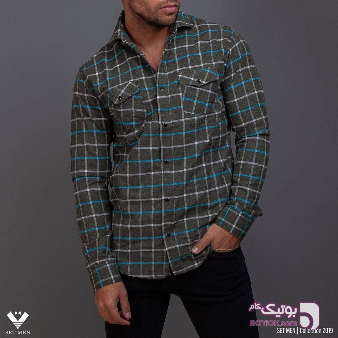 پیراهن پشمی طوسی پيراهن مردانه