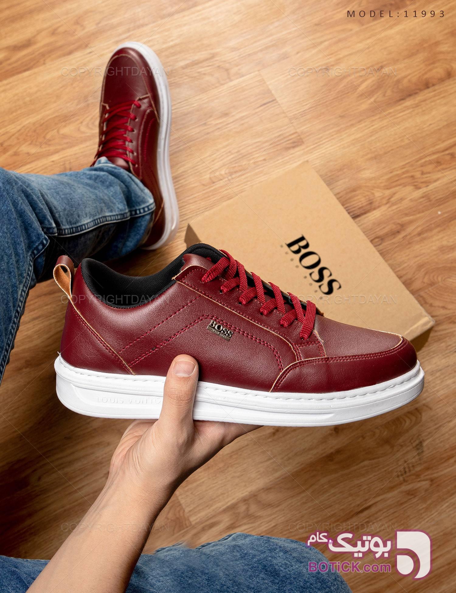 کفش مردانه Boss مدل 11993 زرشکی كتانی مردانه