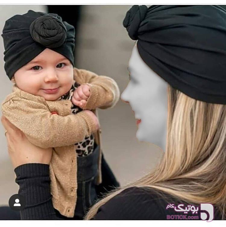 کلاه حجاب ست مادر و دختر زرد کلاه و اسکارف