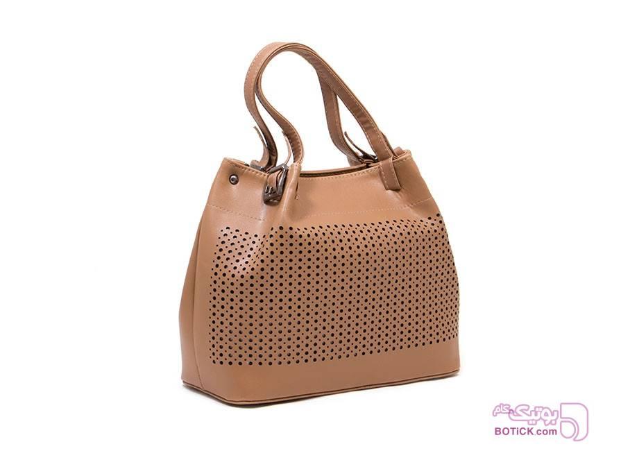 کیف دستی زنانه پانچ رنگ نسکافه ای کرم كيف زنانه