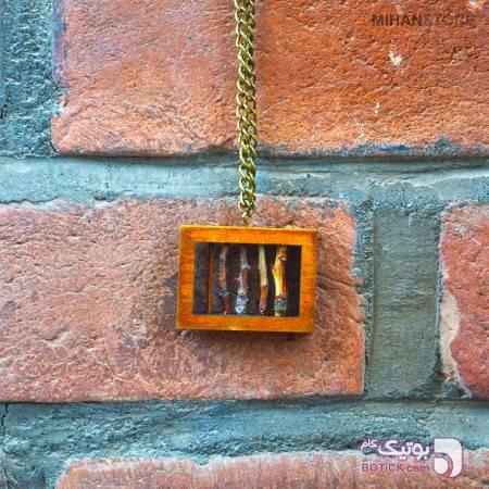 گردنبند چوبی دست ساز مدل Fence قهوه ای گردنبند