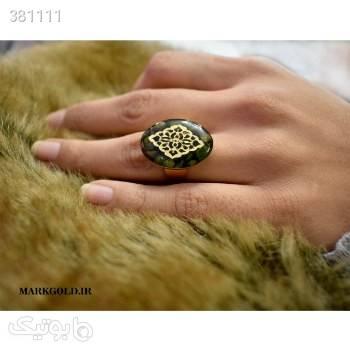 RA015 انگشتر طلا کوب طرح عرفان سبز انگشتر