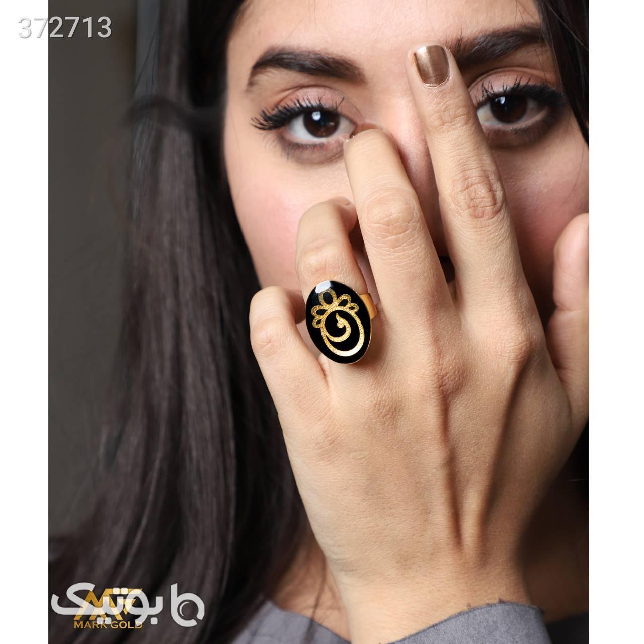 RA02 انگشتر طلا کوب طرح آرام مشکی انگشتر