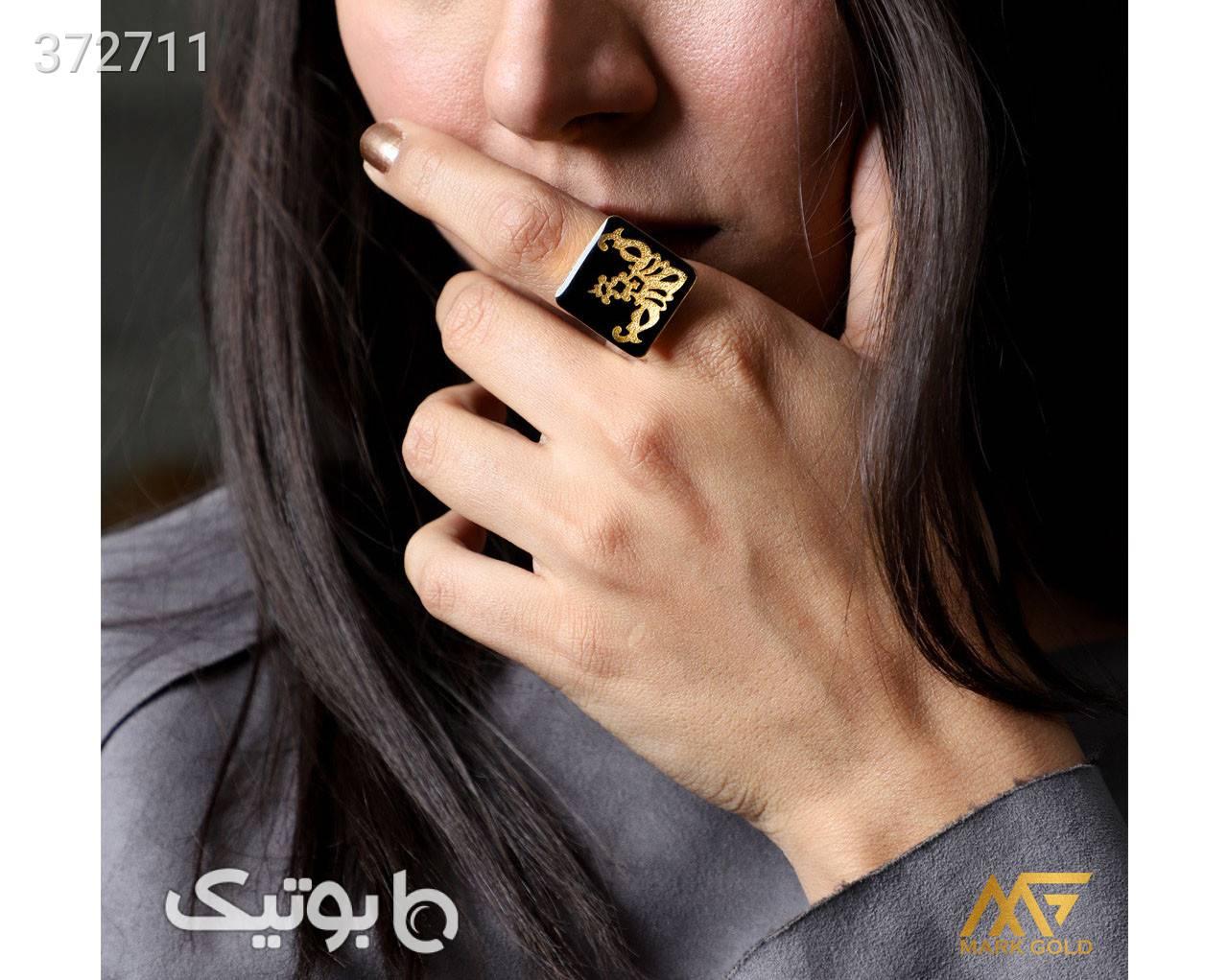 RA03 انگشتر طلاکوب طرح گلوریا مشکی انگشتر