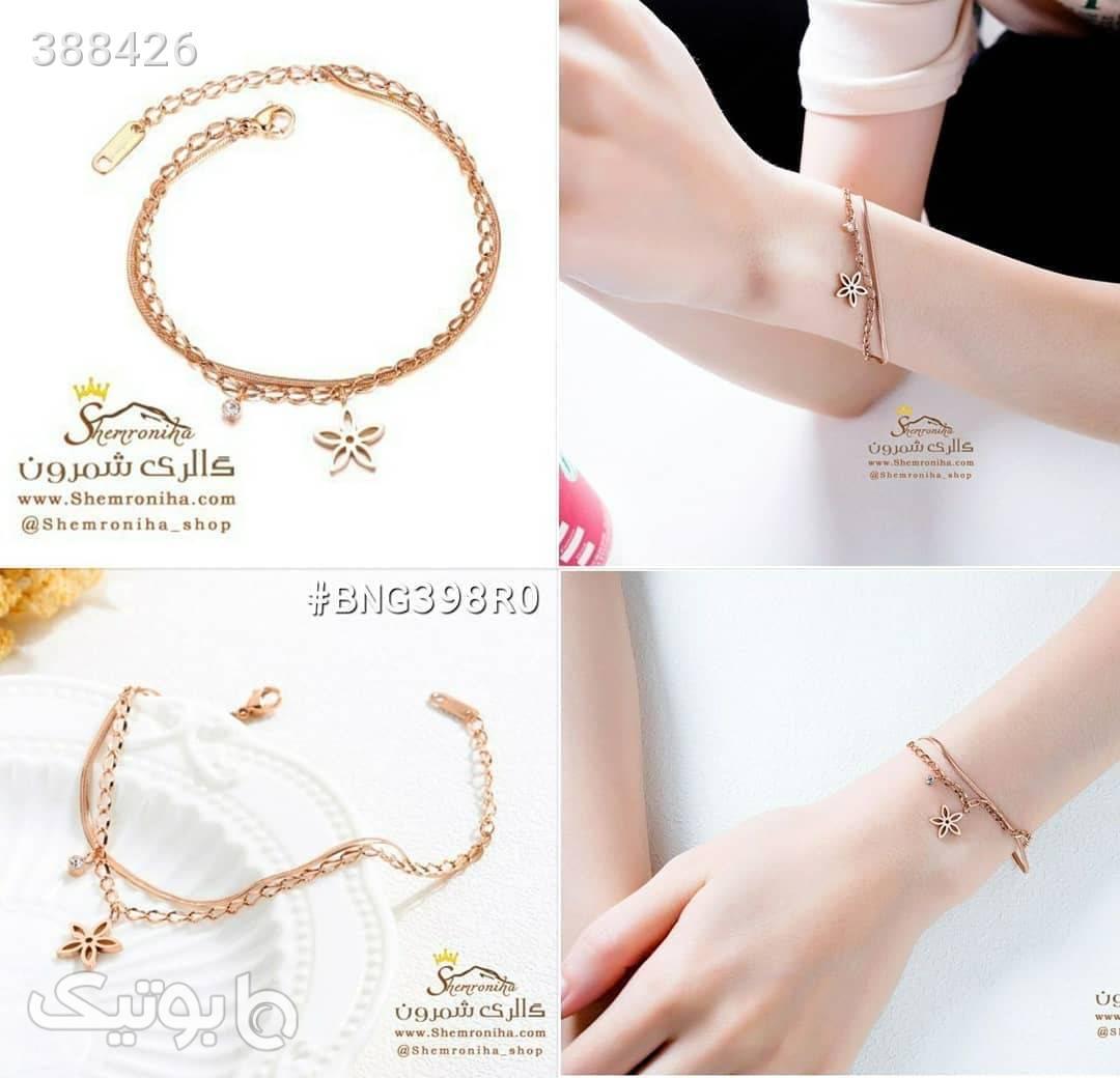 دستبند دورشته آویز گل و کریستال طلایی دستبند و پابند