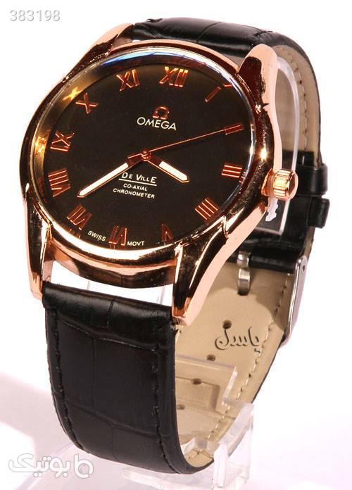 ساعت بند چرم طرح OMEGA مدل 2200 مشکی ساعت