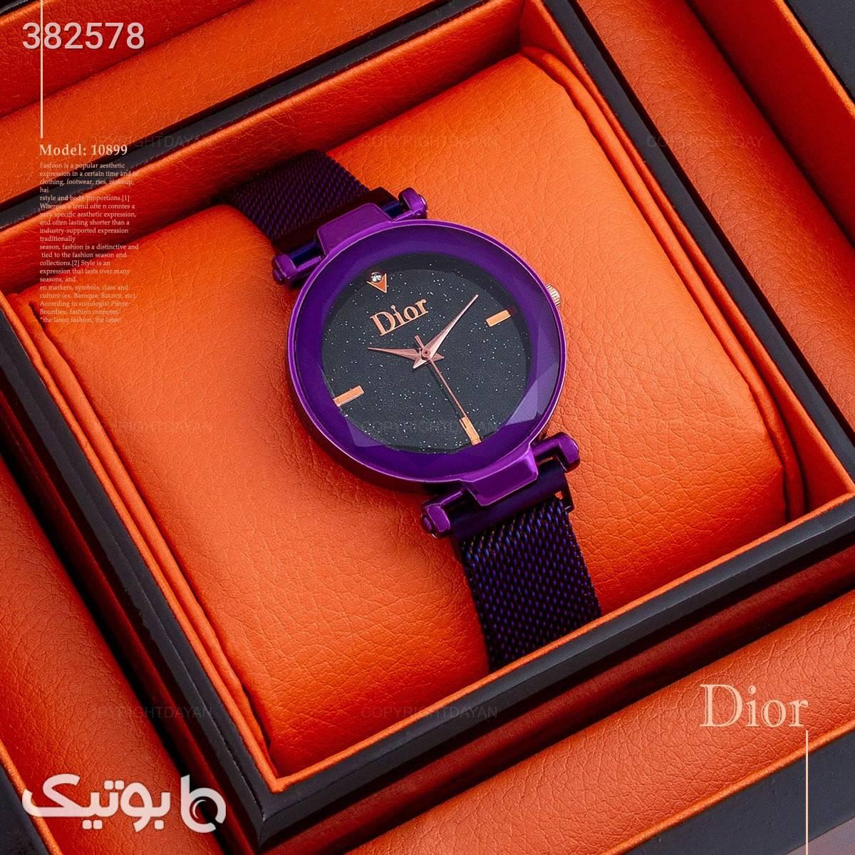 ساعت زنانه شیشه کریستال dior بنفش ساعت