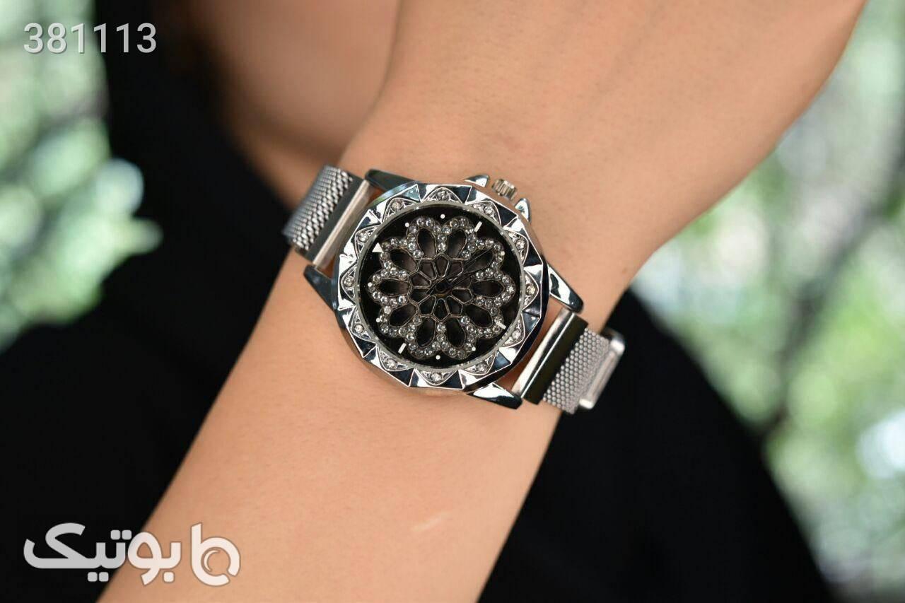 ساعت مچی زنانه بند مگنتی،صفحه چرخشی آبی ساعت