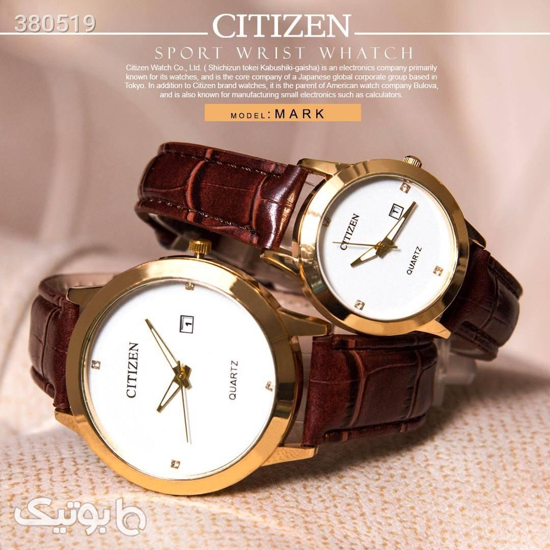 ست ساعت مردانه و زنانه citizen قهوه ای ساعت