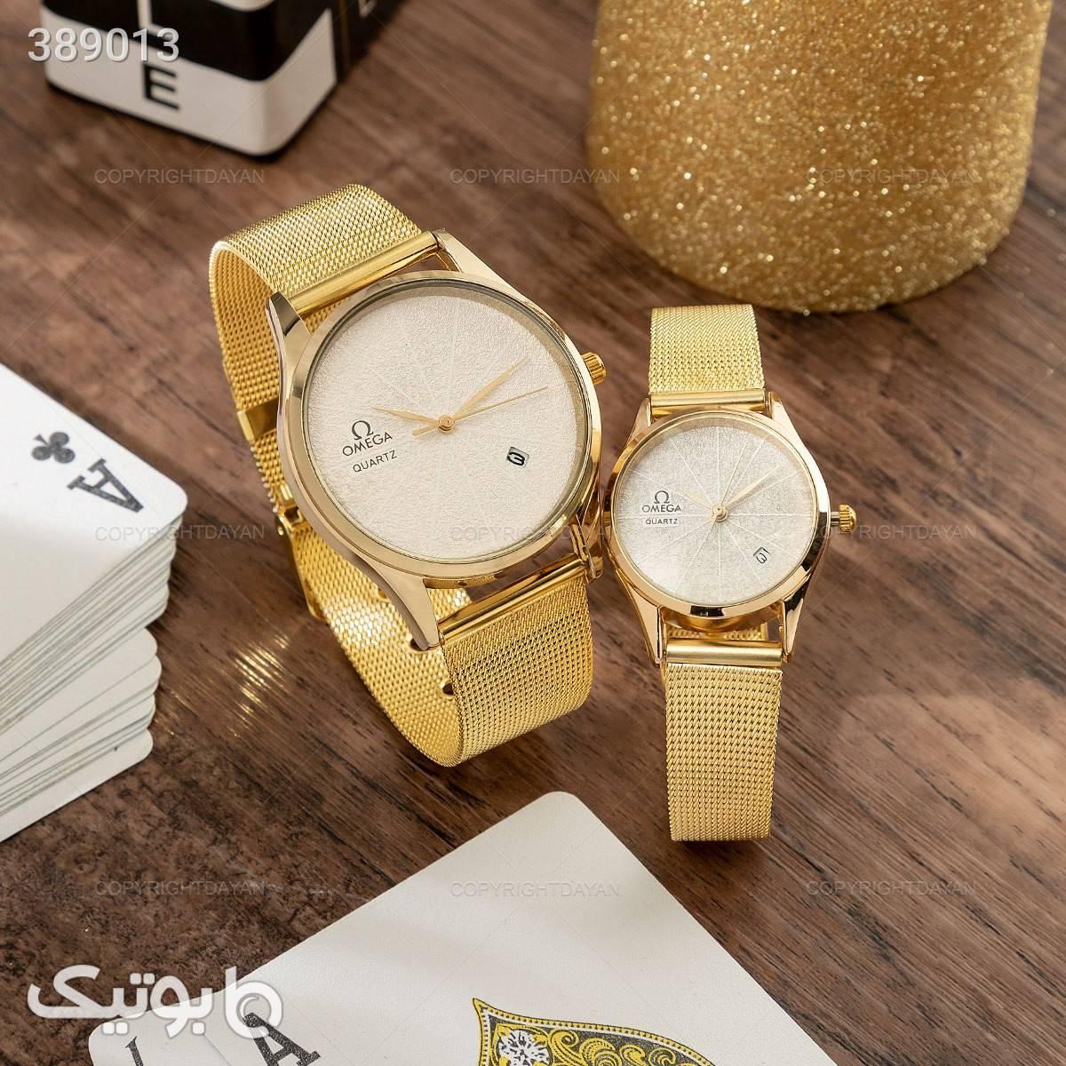 ست ساعت مردانه و زنانه omega زرد ساعت