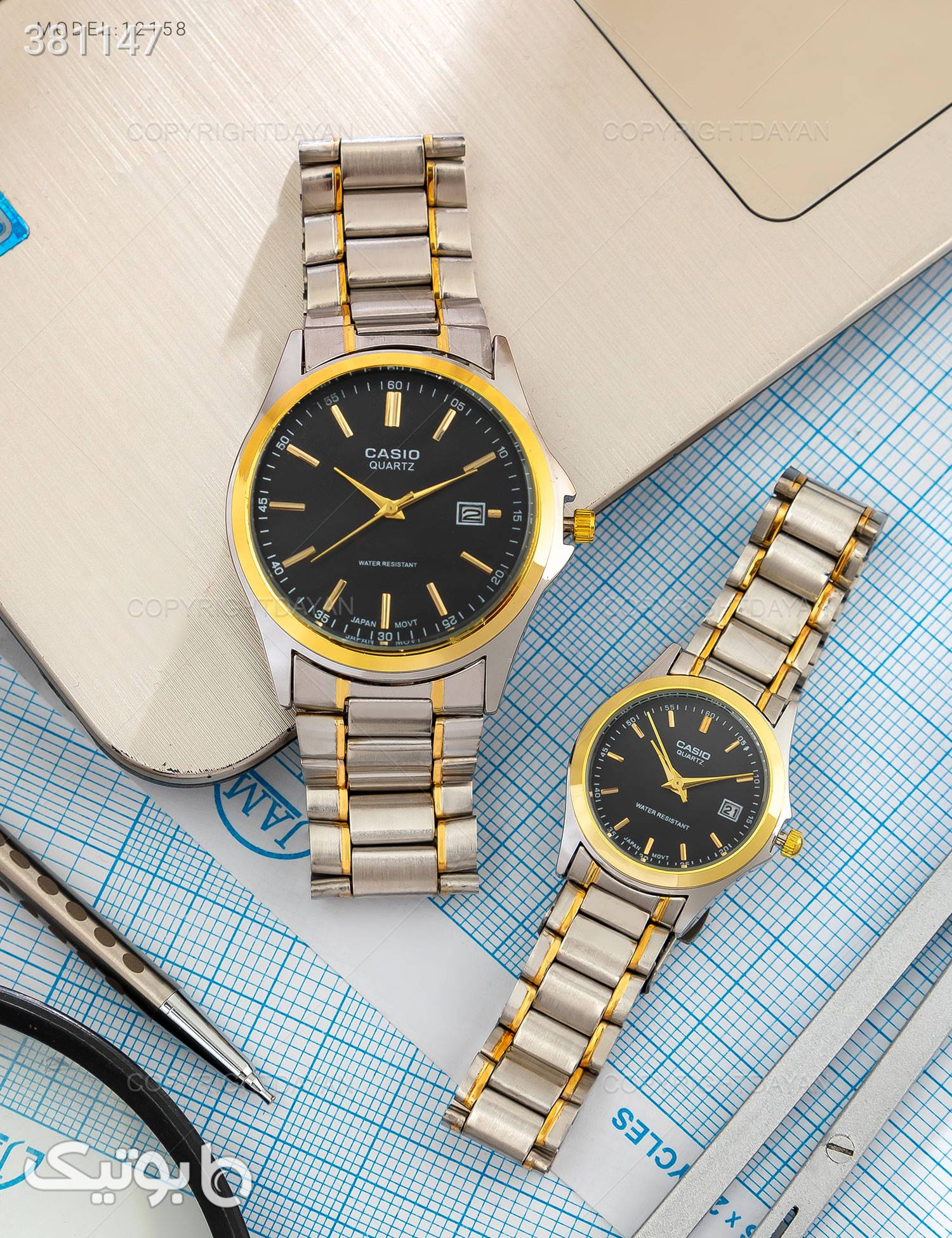 ست ساعت مچی Casio مدل 12158 نقره ای ساعت