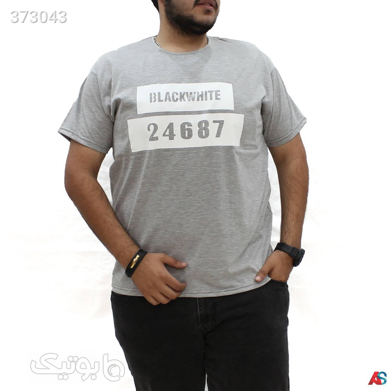 تیشرت سایز بزرگ یقه گرد کد محصول TNG9811 طوسی سایز بزرگ مردانه
